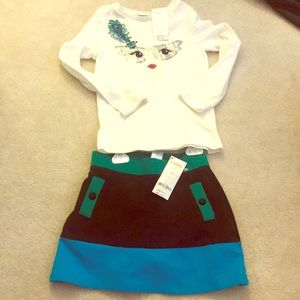 NWT stylish Gymboree long sleeve/ skirt set